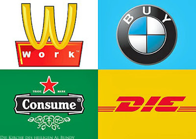 Witzige Logos - Arbeiten, kaufen, Konsum, sterben