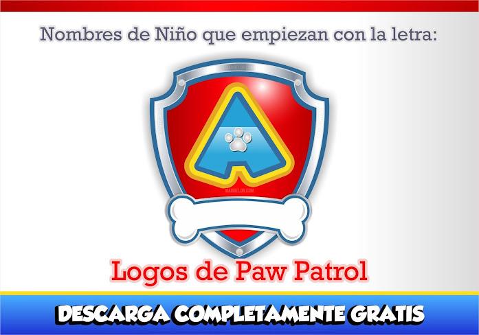 """Paw Patrol: Nombres de Niño con la Letra """"A"""""""