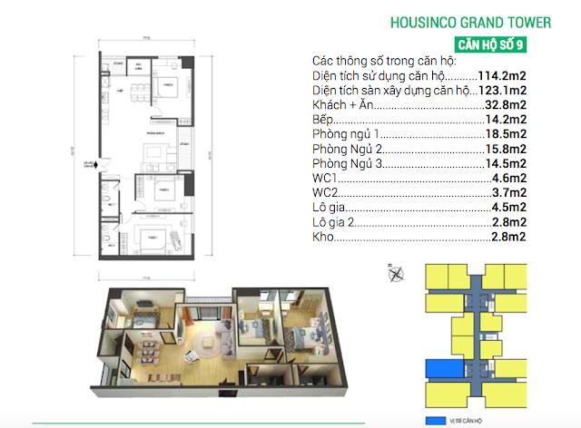 Thiết kế căn hộ 09 chung cư Housinco Grand Tower