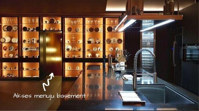 dapur bernuansa modern minimalis dengan aksen lampu