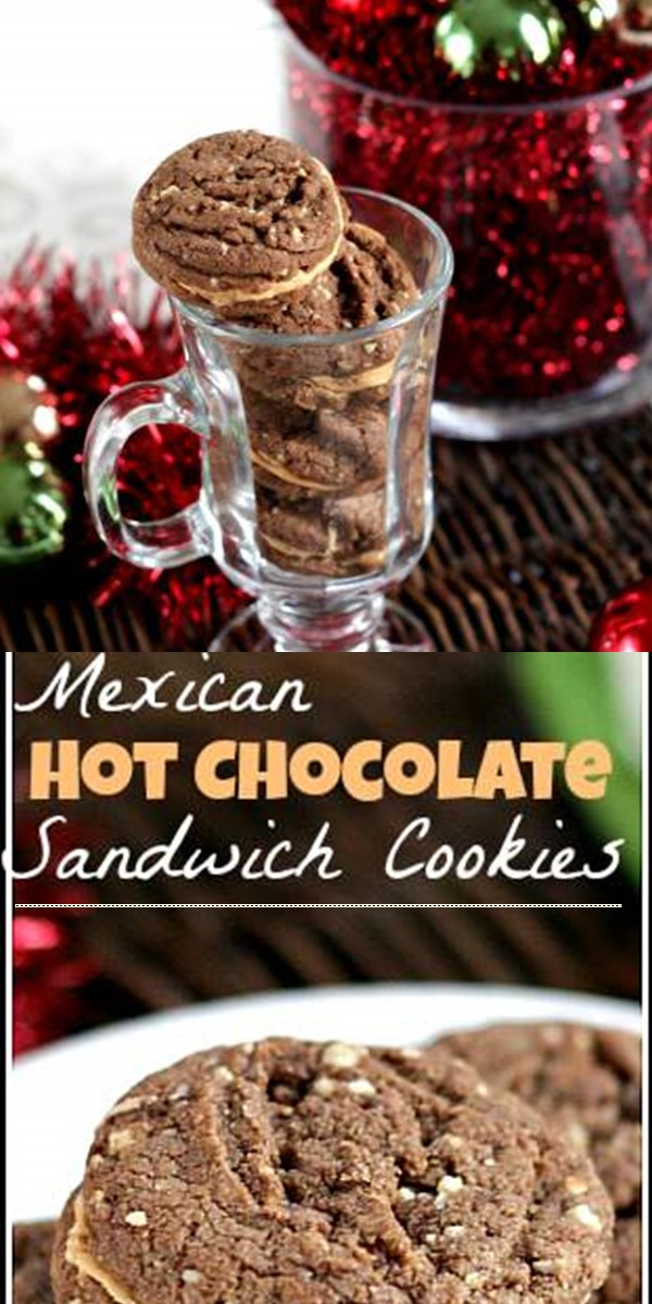 Mexican Hot Chocolate Sandwich Cookies #cookiesrecipes