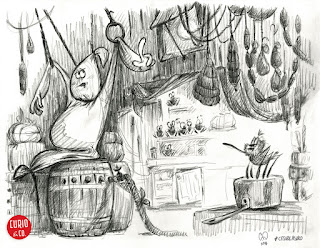 Spooky Ghost and spiders in the kitchen barn - pencil on paper - illustration and design by Cesare Asaro - Curio & Co. (Curio and Co. OG - www.curioandco.com)