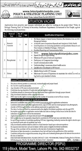 Government Punjab Primary Secondary Healthcare Jobs Apply Now