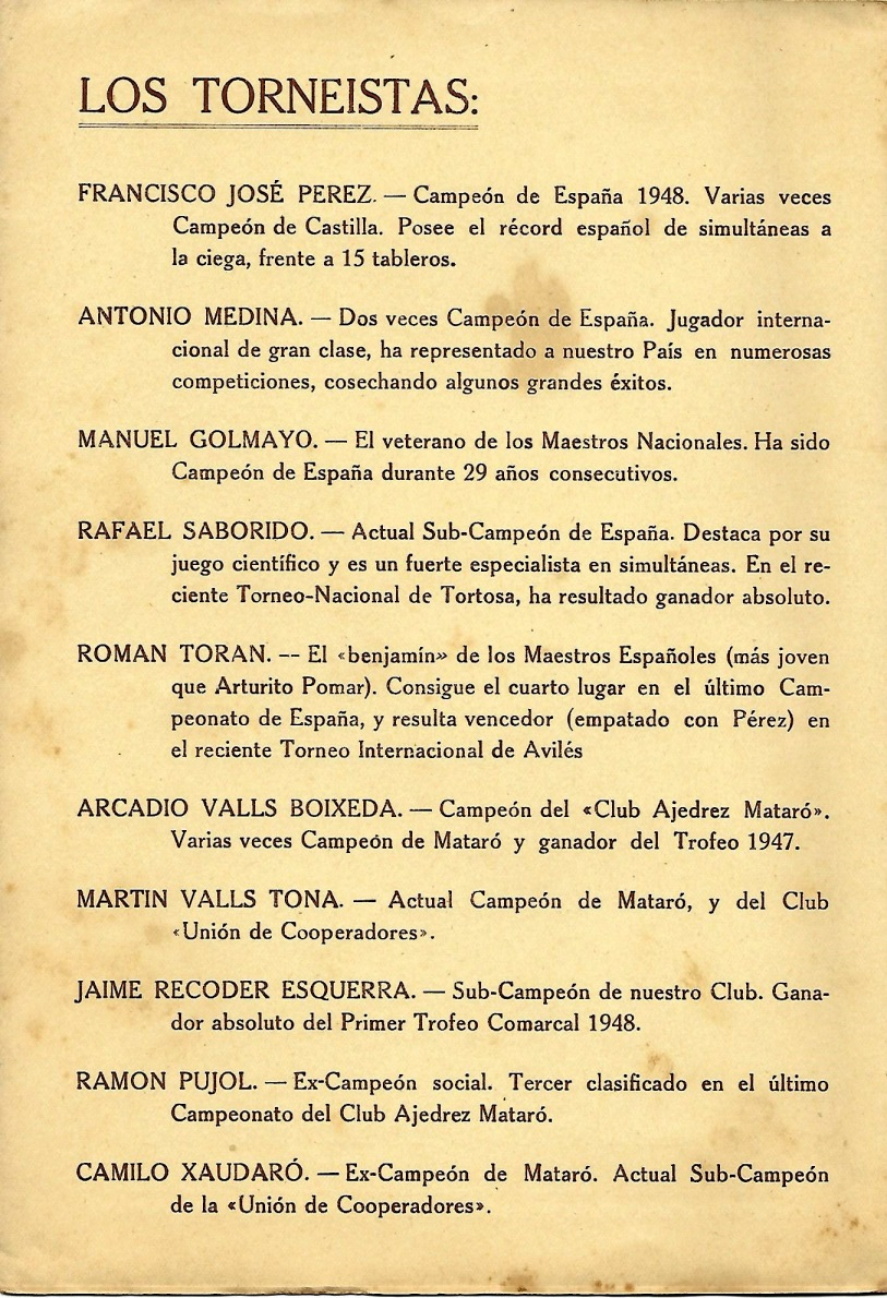 Segunda página del díptico del I Torneo Nacional de Ajedrez de Mataró-1948