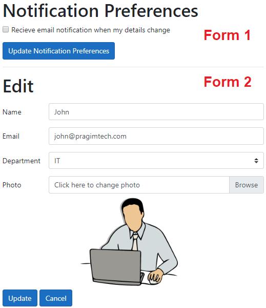 asp.net core razor pages multiple forms