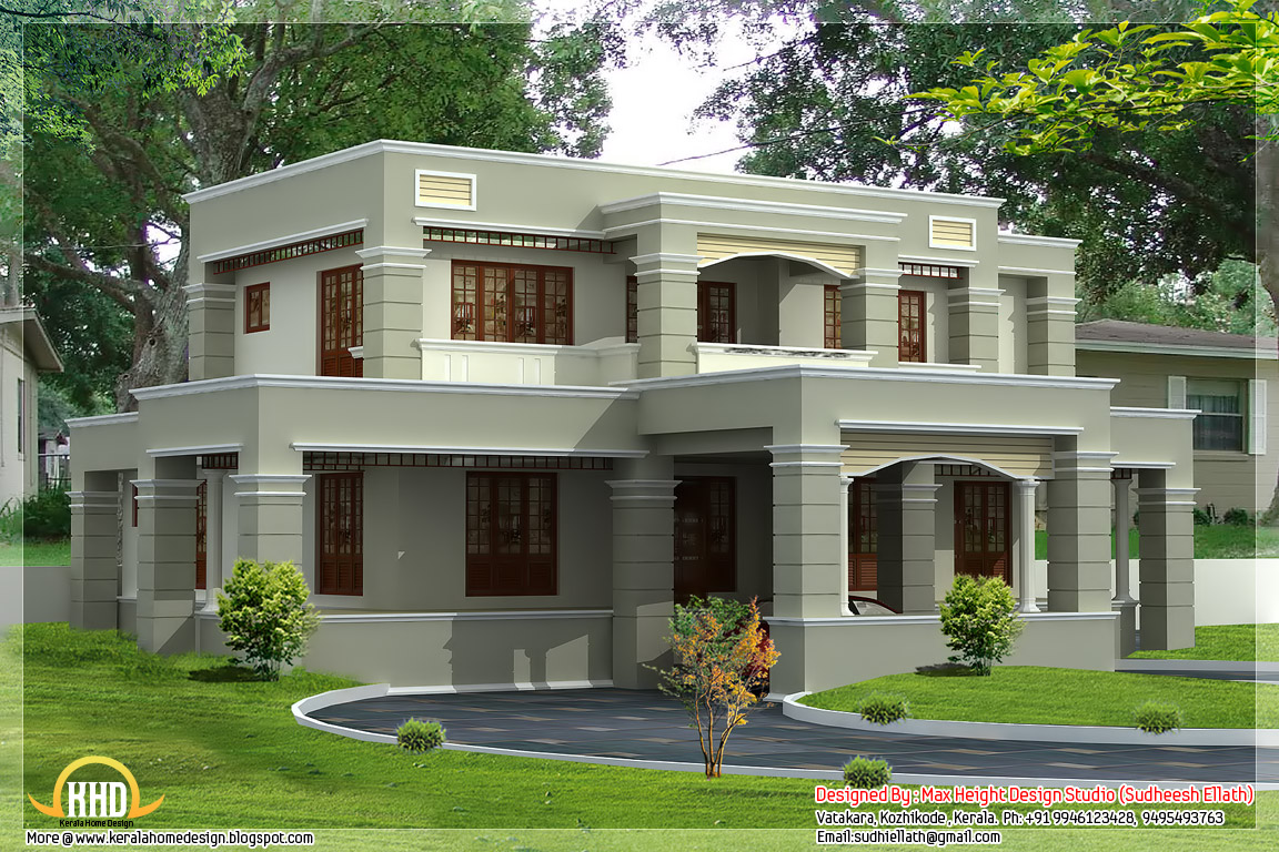 Two floor houses with 3rd floor serving as a roof deck for Indian house portico models