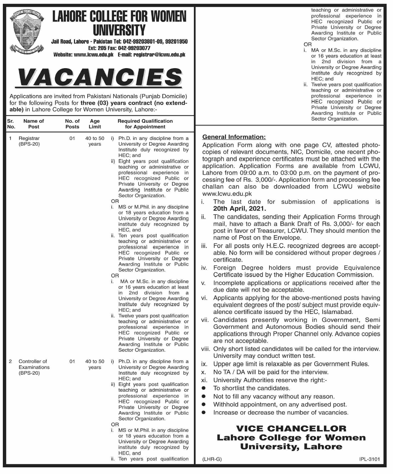 Lahore College For Women University (LCWU) Jobs 2021 in Pakistan