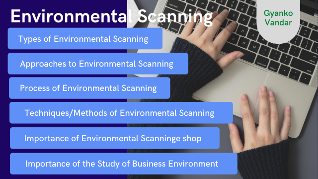 Environmental Scanning: Concept, Types, Approaches, Process, Techniques or Methods and Importance