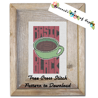 Coffee Week! Basic Black Coffee Theme Cross Stitch Design Free to Download