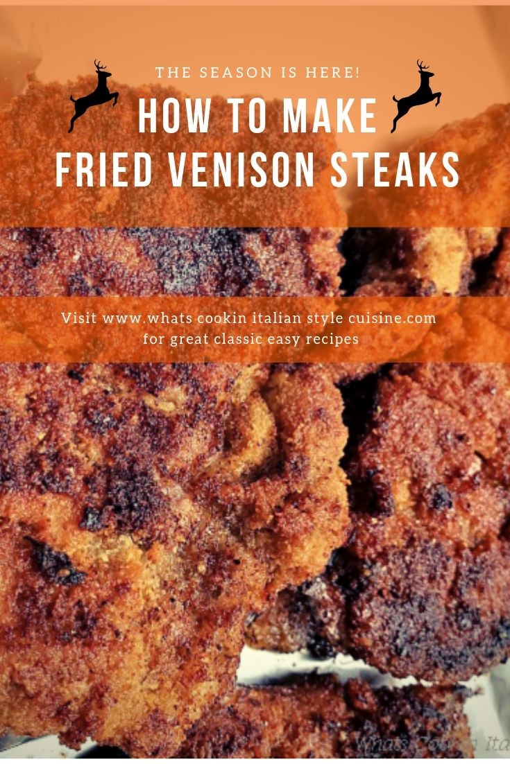 Venison deer meat coated with bread crumbs frying in a pan of oil