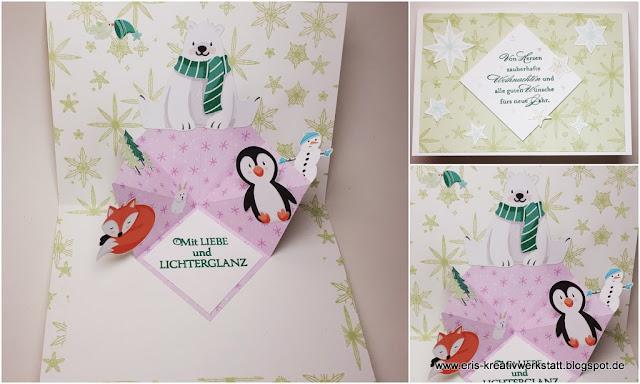Weihnachtliche Popup-Karte mit Pinguin, Eisbär und Fuchs Stampin' Up! www.eris-kreativwerkstatt.blogspot.de