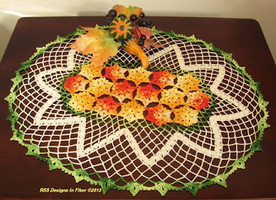 Crochet Oval Doily with Yellow and Orange Flowers - Handmade By Ruth Sandra Sperling at RSS Designs In Fiber