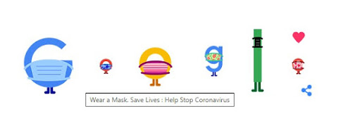 Google Doodle Wear A Mask characters 050820 with text