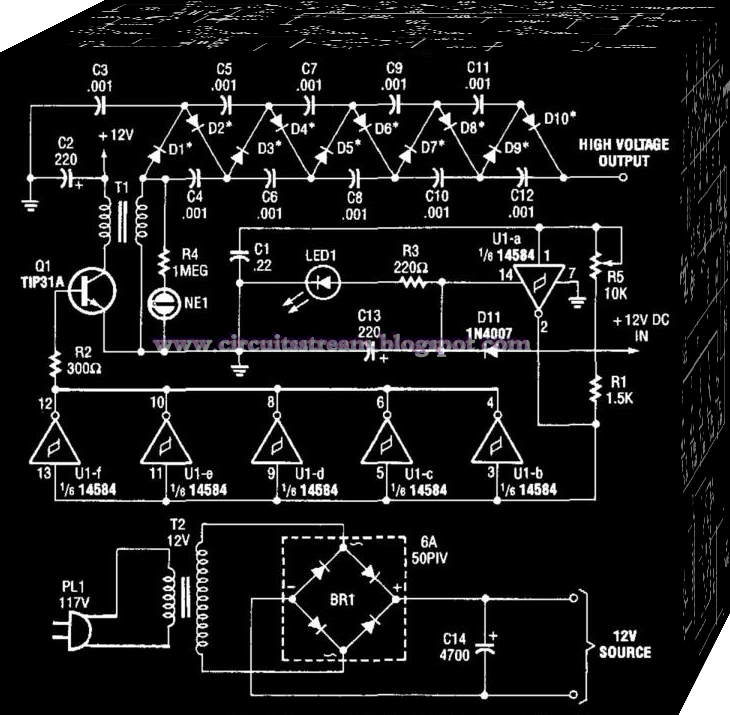 Build a 10000 Vdc Supply Circuit Diagram
