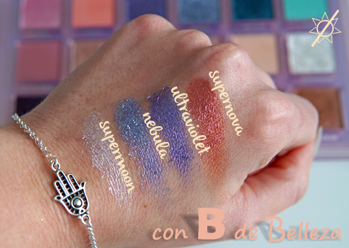 Swatches paleta Huda Mercury retrograde
