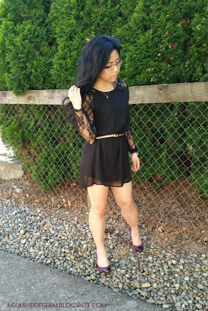 Little Black Dress OOTD with Lace Sleeves Banggood - Andrea Tiffany aglimpseofglam