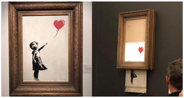 pintura-de Banksy-se-autodestruye-después-de-venderse