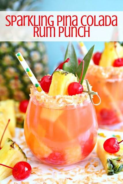 Sparkling Pina Colada Rum Punch