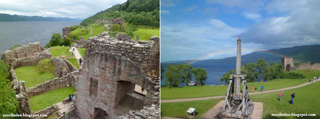 Viaje a Escocia: día 4 Castillo de Urquart con el lago Ness de fondo.