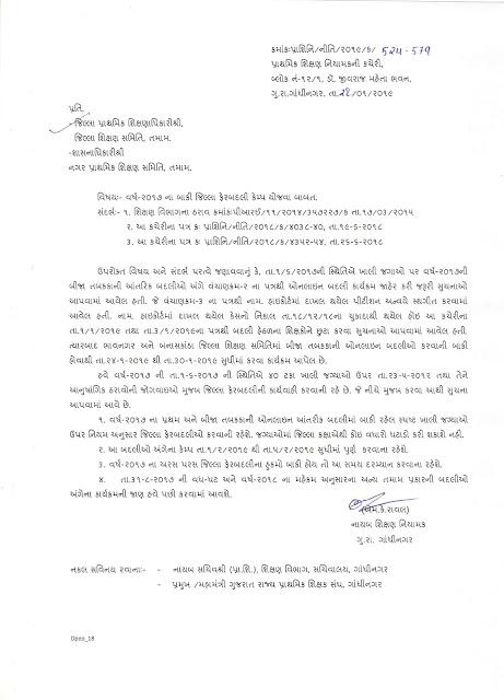 साल-2017 के   शिक्षकों के लिए जिला  फेर बदली केम्प दिनांक-1/2/19 से 5/2/19 तक पूर्ण करने हेतु नियामक श्री का पत्र
