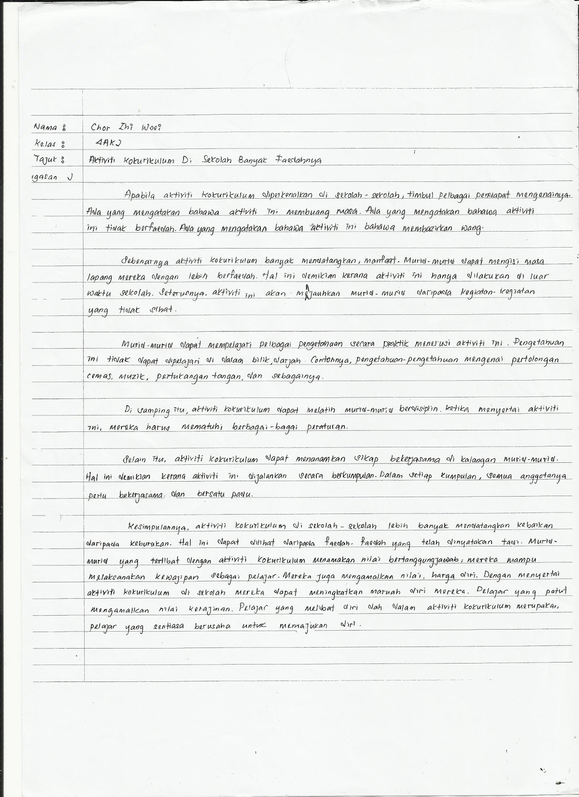 Moral project form 4 essay