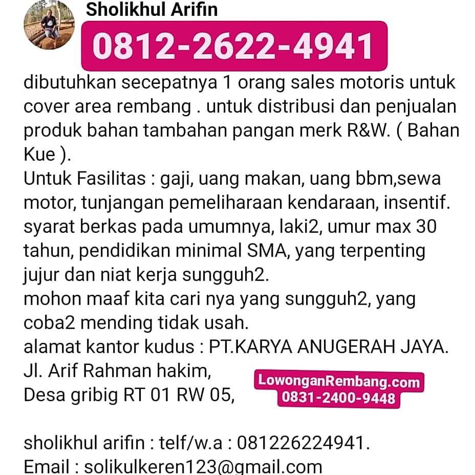 Lowongan Kerja Sales Motoris PT Karya Anugerah Jaya Penempatan Rembang Cukup Chat WhatsApp