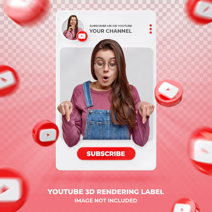 Banner Icon Profile On Youtube 3D Lendering Label Template