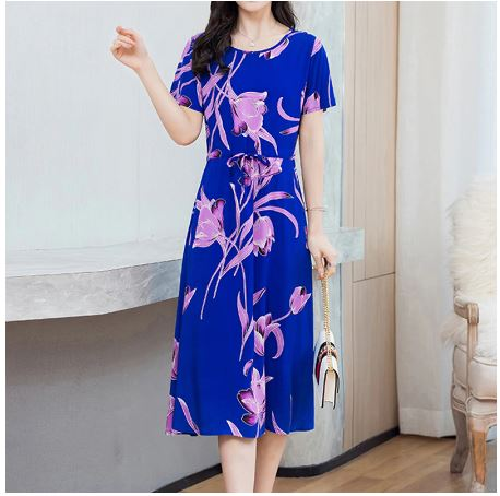 Plus size Summer women dresses Fashion O Neck Women Floral Print long Dress Short Sleeve Dresses Party Wedding Vestido 5xl