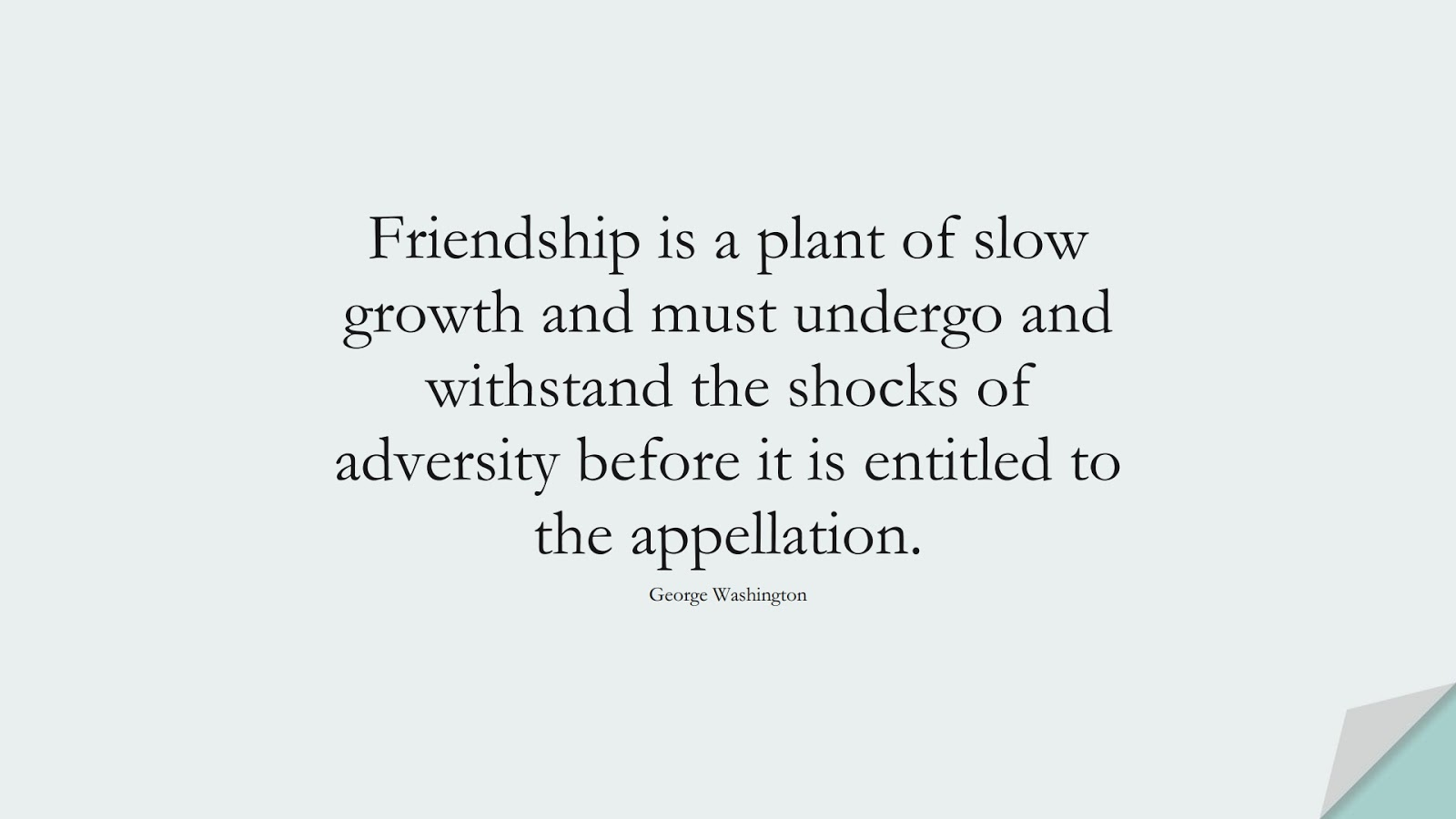 Friendship is a plant of slow growth and must undergo and withstand the shocks of adversity before it is entitled to the appellation. (George Washington);  #FriendshipQuotes