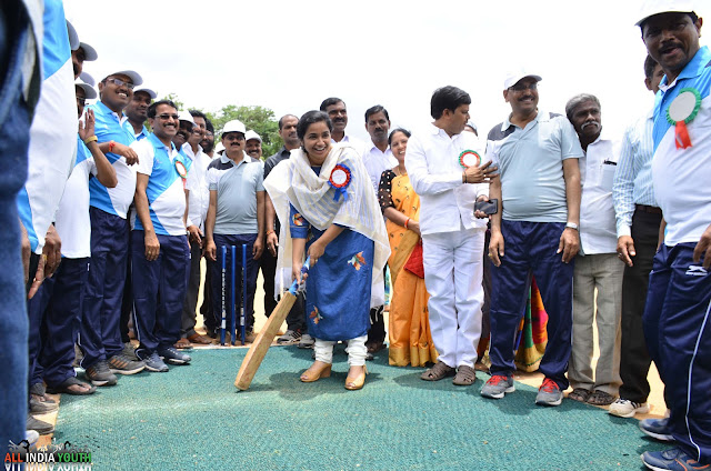 IAS Officer Swetha Mohanty inaugurating cricket tournament
