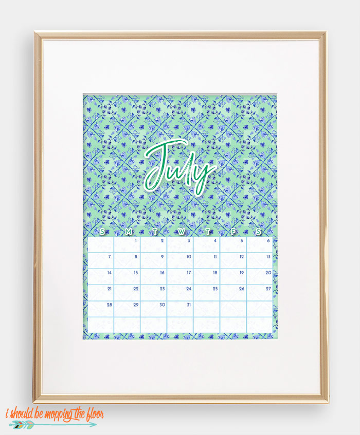 July Chinoiserie Calendar