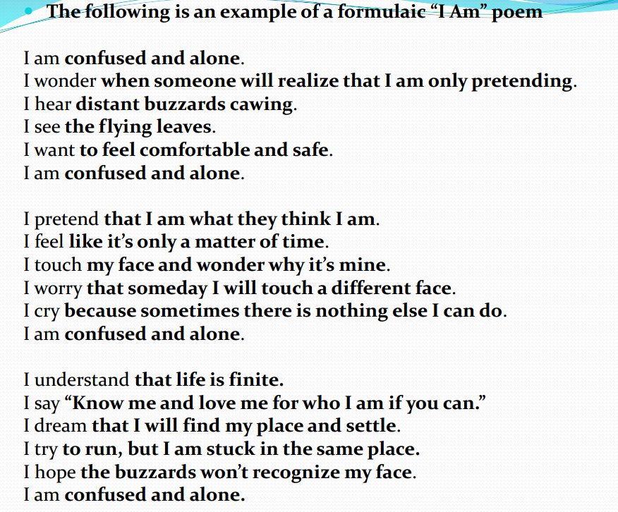I am poem examples for 8th graders