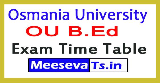 Osmania University B.Ed 1st 2nd 3rd 4th Sem Exam Time Table