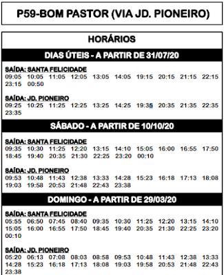P59 BOM PASTOR (VIA PIONEIRO) 2020 | Horário de ônibus | Campo Magro PR