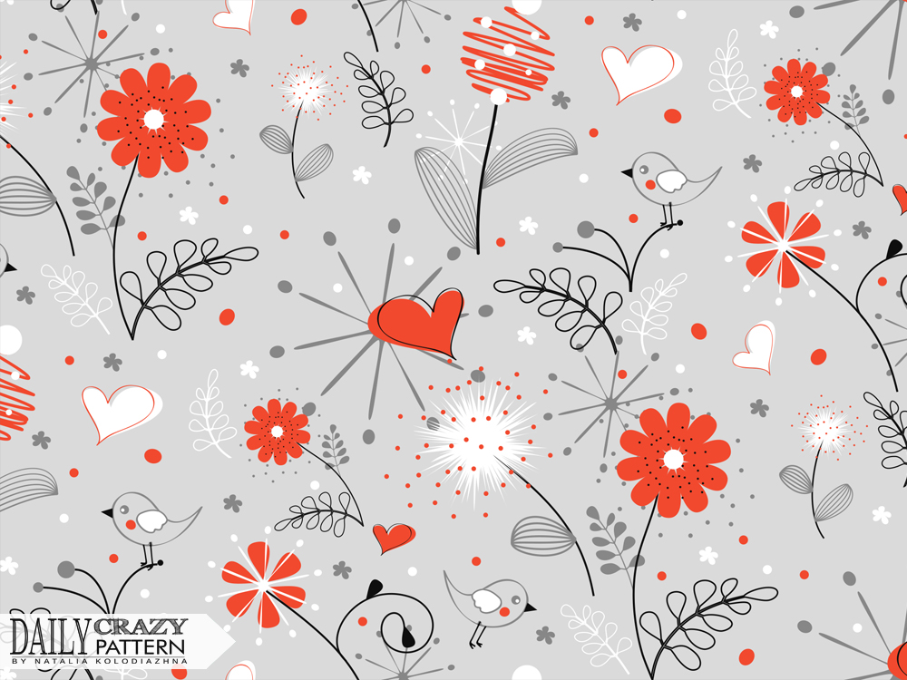 Handdrawn pattern with red flowers