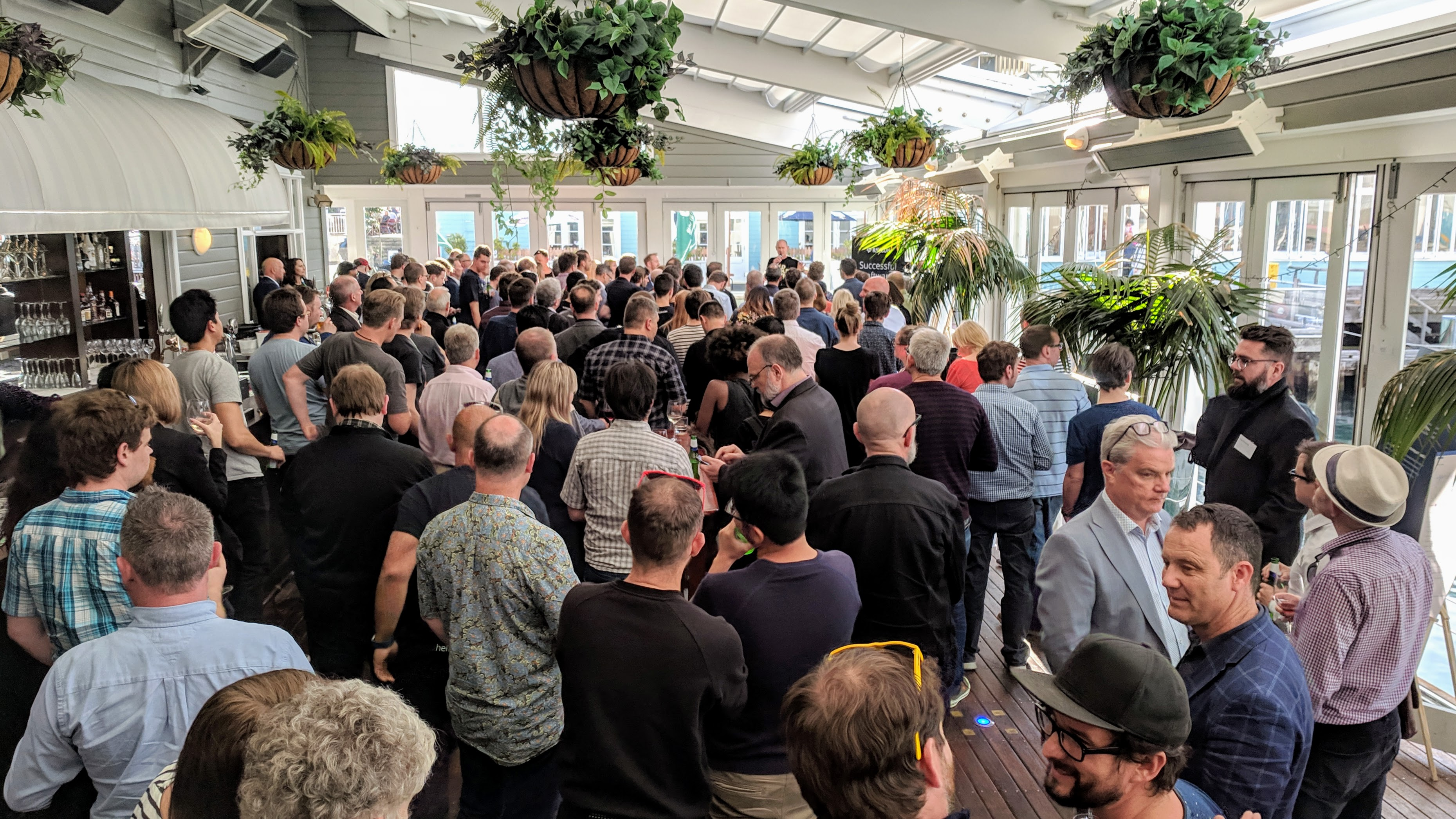 Mostly white men at a Wellington tech support announcement