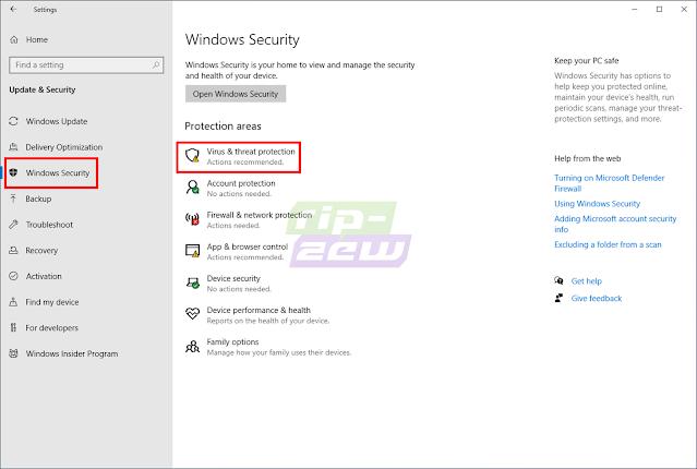 Pilih Windows Security