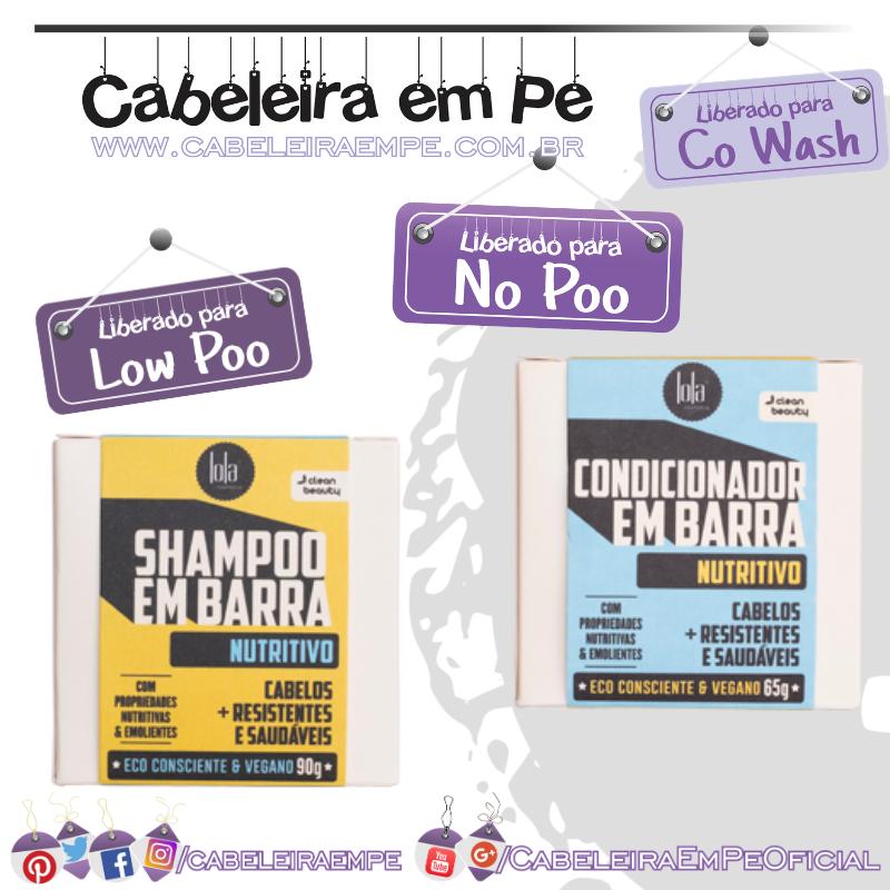 Shampoo (Low Poo) e Condicionador (No Poo e Co wash) em Barra Nutritivo - Lola