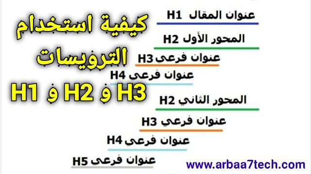 كيفية استخدام الترويسات H1 و H2 و H3 داخل مقالك - اطلس للتقنية