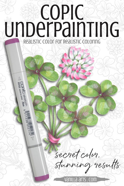 Guest post by Amy Shuke of VanillaArts.com Add realism to Copic Marker blends by underpainting with complementary colors. Pink RV55 marker creates natural looking shade underneath green markers for sweet clover leaves and blossom. | PowerPoppy.com | Alcohol Markers, Colored Pencils, Underpainting Swatch