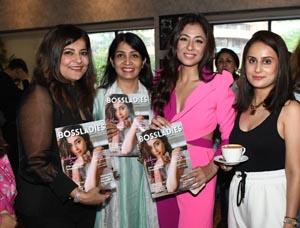 Bollywood actress Sukhmani Sadana along with Himja Rana, Founder of BossLADIESs and Prerna Khurana launching cover of BossLADIES Magazine September Issue in Amritsar (Photo: Nannu Studio)