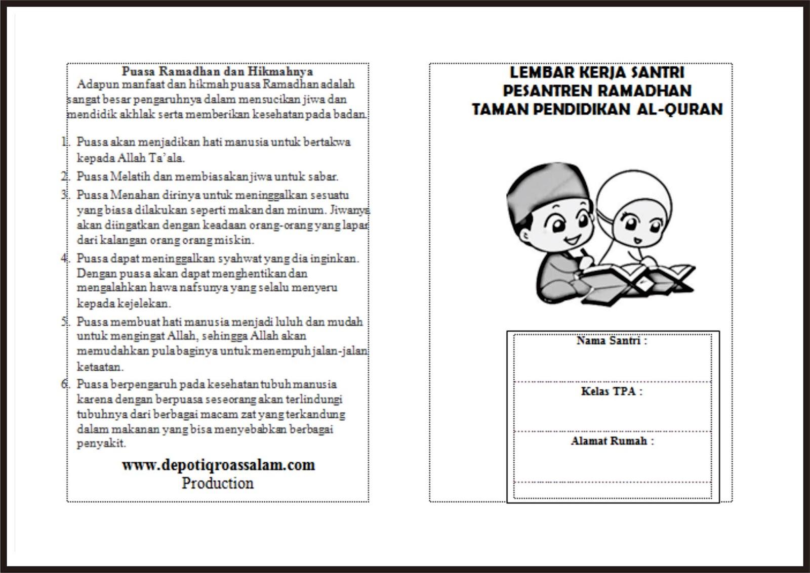 Depot Iqro As Salam Buku Prestasi Santri Bulan Ramadhan
