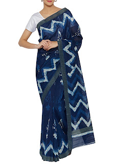 Blue chanderi printed handloom saree – INR 6299