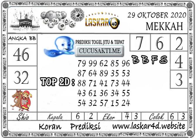 Prediksi Togel MEKKAH LASKAR4D 29 OKTOBER 2020