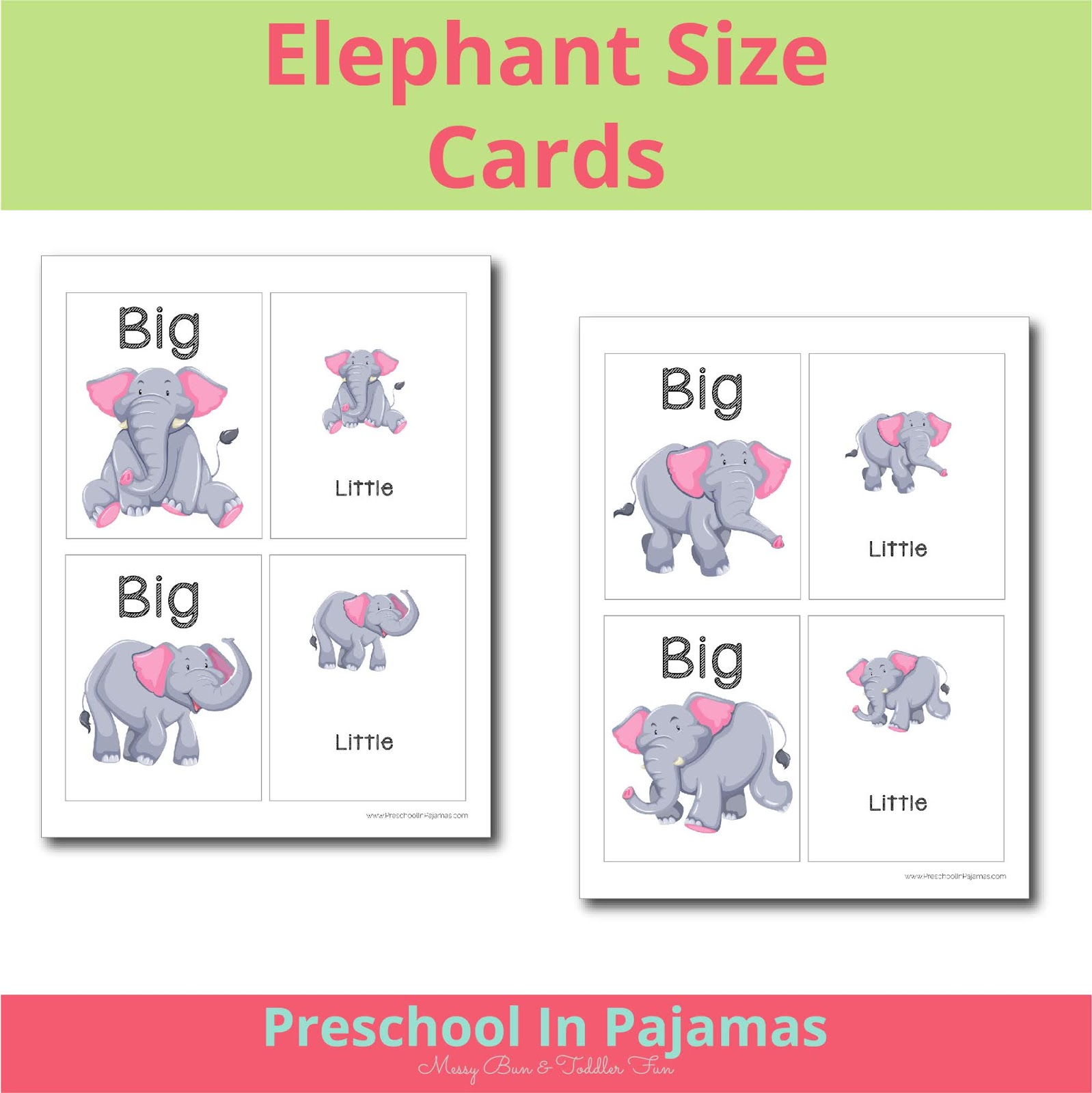 Free Printable Elephant Size Cards