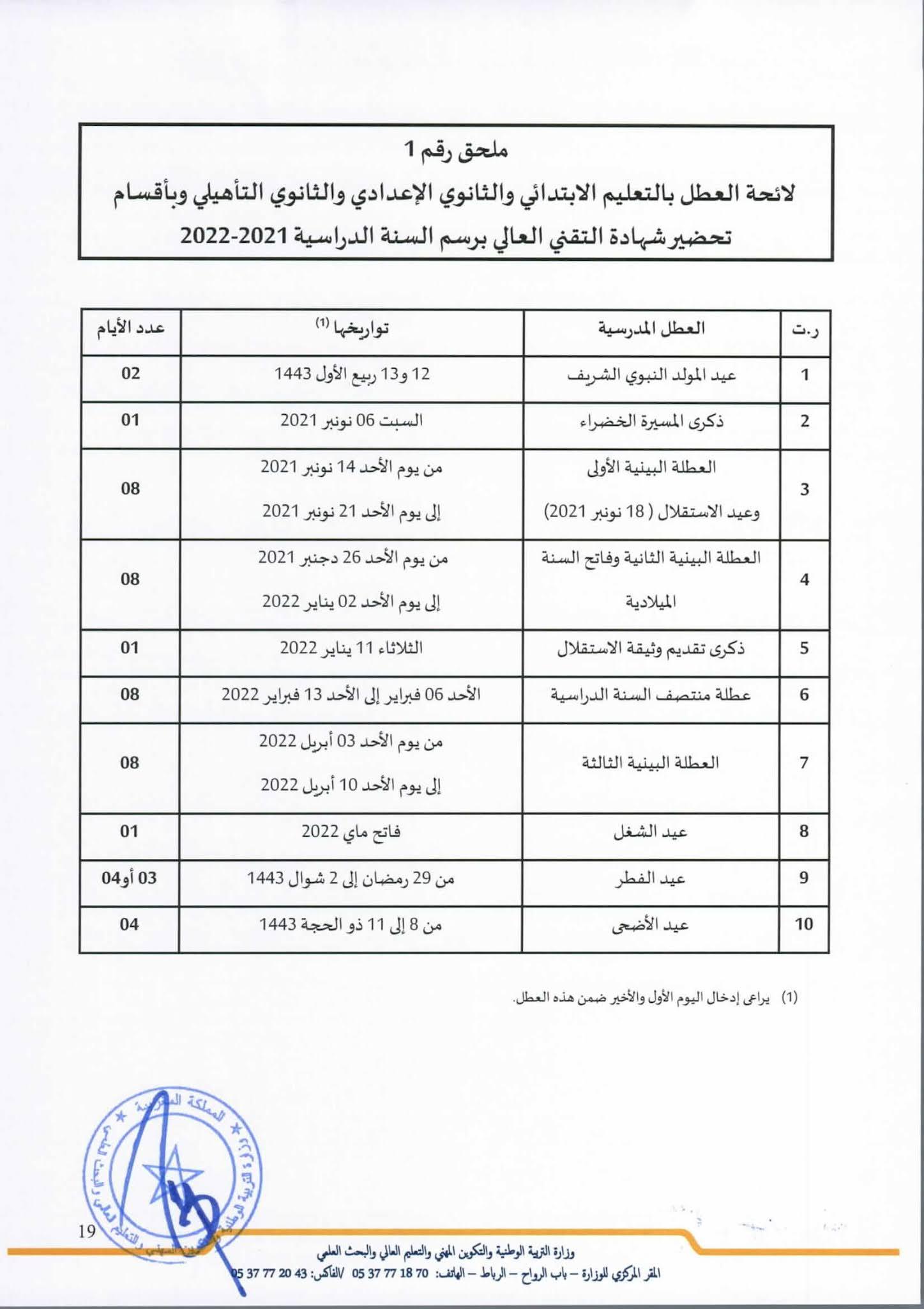 لائحة العطل المدرسية 2021 2022 وفق التعديلات الجديدة pdf