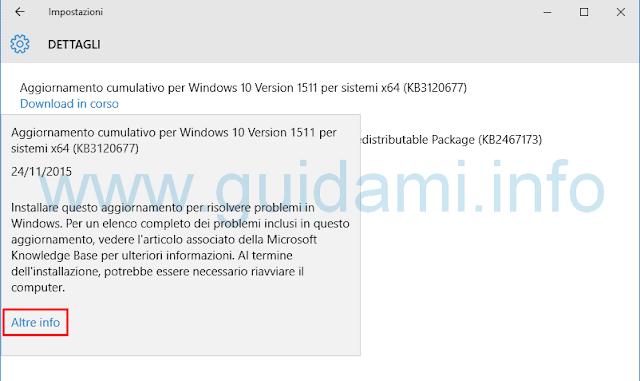Windows Update Windows 10 schermata e Dettagli aggiornamento