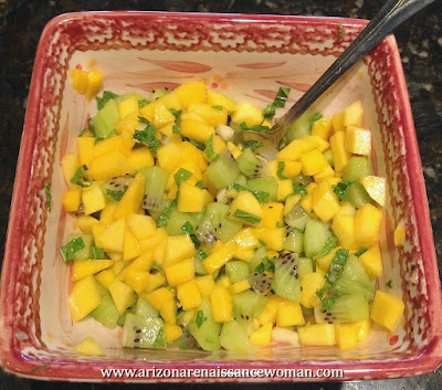 Mango-Kiwi Salsa for Pineapple Tacos with Coconut-Ricotta Pancake Shells and Whipped Cream