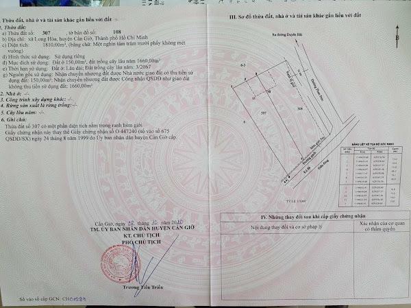 Bán 4064m2 có 300m2 thổ cư, góc đường Phan Đức và Mặt tiền biển, xã Long Hòa