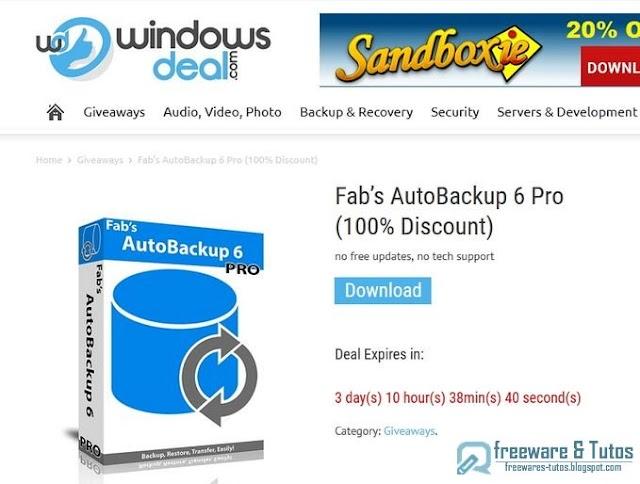 Offre promotionnelle : Fab's AutoBackup 6 Pro gratuit !